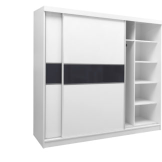 Skříň šatní GD 240, bílá/černé plexisklo