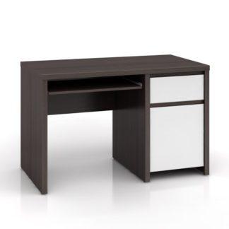 Elegantní PC stůl KASPIAN, BIU1D1S/120, bílý vysoký lesk