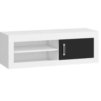 VERIN/21, televizní stolek 1D, bílá/černý lesk