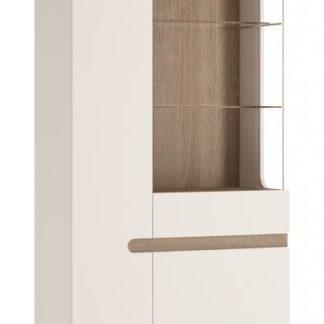 LINATE/05P, vitrína 2D1S, alpská bílá/trufla, pravá