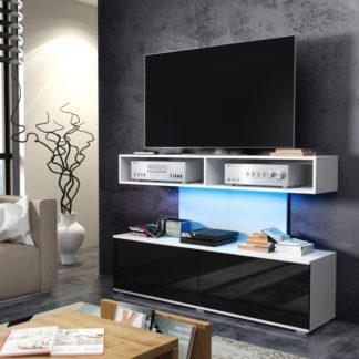 REX televizní stolek, bílá/černý lesk
