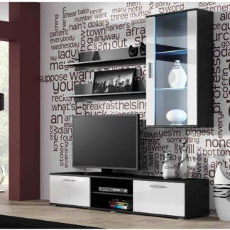 SOHO, obývací pokoj - sestava 2, černý mat/bílý lesk