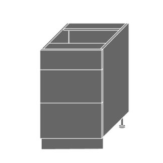PLATINUM, skříňka dolní D3m 50, korpus: grey, barva: deep red