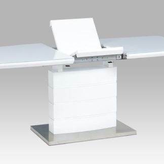 Rozkládací jídelní stůl HT-440 WT, bílý lesk/bílé sklo/broušený nerez