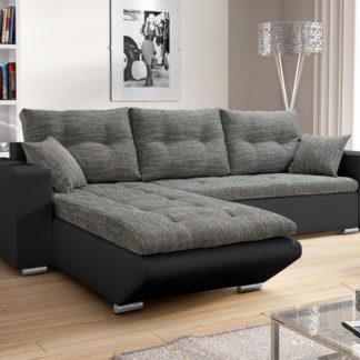 Rohová sedačka DARLA 5, šedá látka/černá ekokůže