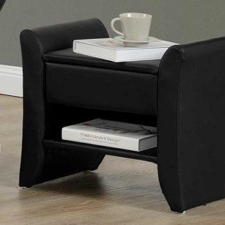 BOLTON čalouněný noční stolek, černá