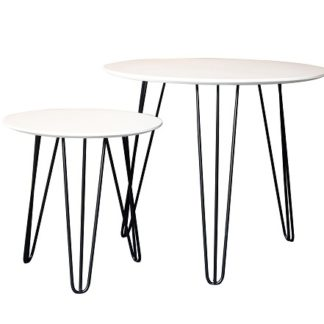 HOLDEN set 2 stolků, bílá/černá