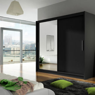 Šatní skříň BEGA VI, černý mat/zrcadlo