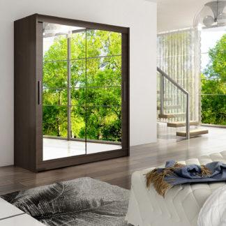 Šatní skříň WESTA XI, choco/zrcadlo