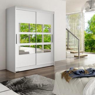 Šatní skříň WESTA VII, bílý mat/zrcadlo