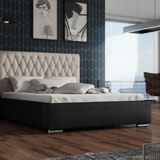 Čalouněná postel TOKIO 140x200 cm, krémová látka/černá ekokůže