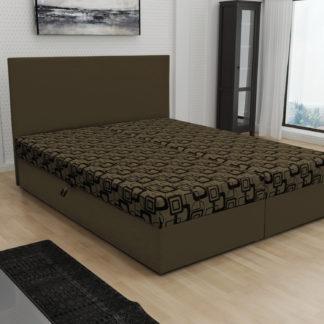 Čalouněná postel JERRY 180x200, hnědá látka se vzorem/hnědá ekokůže