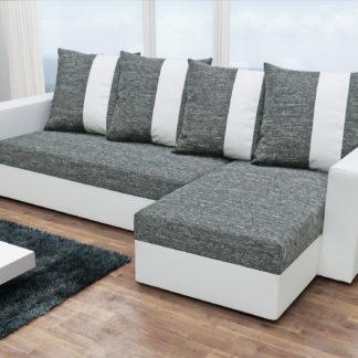 Rohová sedačka PRAGA, šedá látka/bílá ekokůže