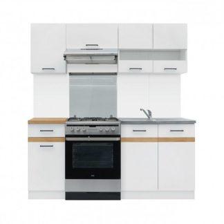Kuchyně JUNONA 120/180 cm, korpus bílý/dvířka bílý lesk