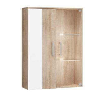 STELLA, závěsná skříňka, barva: dub sonoma/bílý lesk