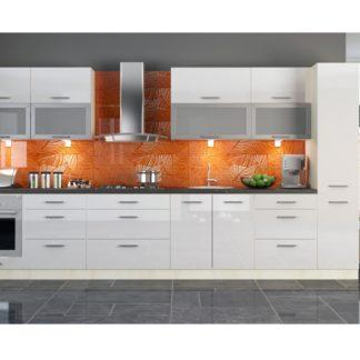 Kuchyně PLATINUM 300/380 cm, korpus jersey, dvířka white