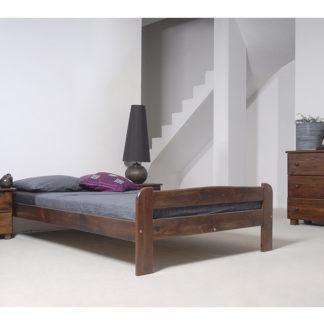 Postel ANIA 120x200 cm s roštem, masiv borovice/moření ořech