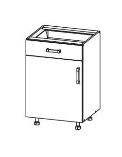 FIORE dolní skříňka D1S 50 SAMBOX, korpus ořech guarneri, dvířka bílá supermat