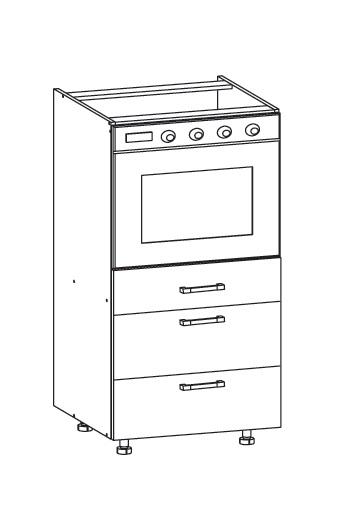 PLATE PLUS dolní skříňka DP3S 60 SAMBOX, korpus bílá alpská, dvířka bílá perlová