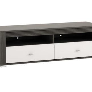 SEVILLA, RTV stolek 2S, norská borovice černá/bílý lesk