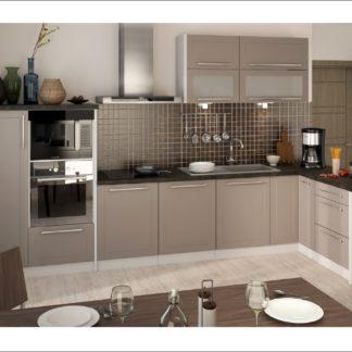 Rohová kuchyně QUANTUM, vzorová sestava, beige mat/grey