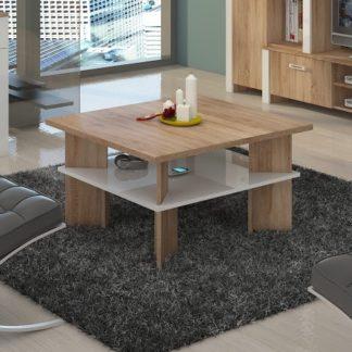 Konferenční stolek VECTRA 1, dub sonoma/bílý lesk
