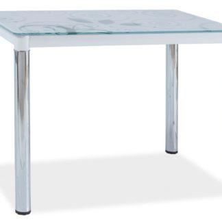 Jídelní stůl DAMAR II, sklo/bílá-chrom