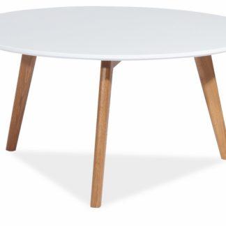 Konferenční stolek MILAN L1, bílá/dub