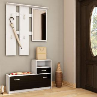 Předsíňová stěna LUNA, barva: bílá/černý lesk