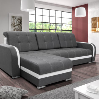 Rohová sedačka DAF, šedá látka/bílá ekokůže