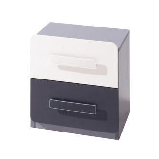 Noční stolek LIDO, šedá/grafit+bílá