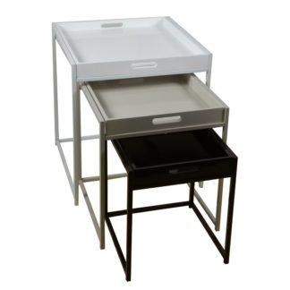 BARTON set 3 stolků, bílá/šedá/černá