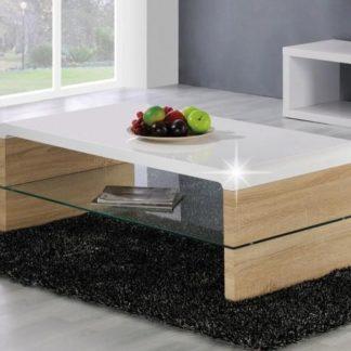 KONTEX 2 konferenční stolek, bílý lesk/dub sonoma
