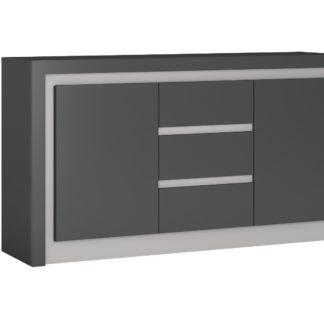 LYON LYOK01 komoda 2D-3S, šedé platinum/šedý lesk
