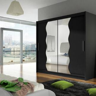 Šatní skříň BEGA X, černý mat/zrcadlo