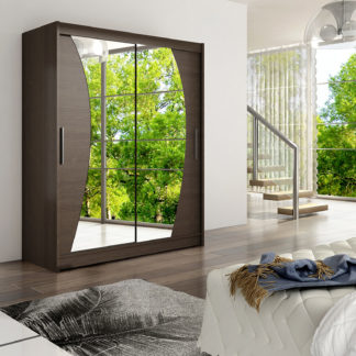 Šatní skříň WESTA X, choco/zrcadlo