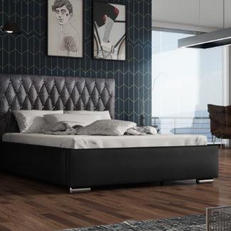Čalouněná postel TOKIO 140x200 cm, černá látka/černá ekokůže