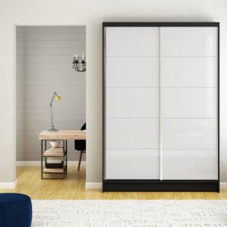 Šatní skříň MONTANA I, černý mat/bílé sklo