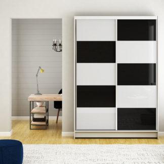 Šatní skříň MONTANA II, bílý mat/bílé sklo+černé sklo