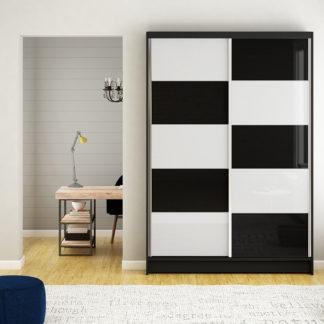 Šatní skříň MONTANA II, černý mat/bílé sklo+černé sklo
