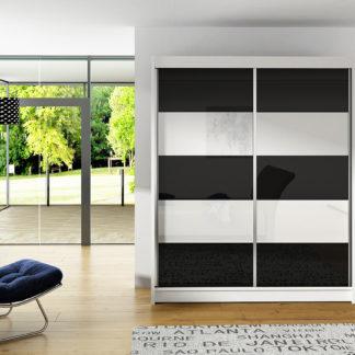 Šatní skříň VITO III, bílý mat/bílé sklo+černé sklo