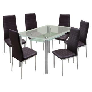 Jídelní stůl VENEZIA + 6 židlí MILÁNO hnědá