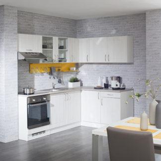 Rohová kuchyně ADELA  220x150 cm, korpus bílý/dvířka pino aurelio