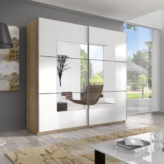 BETA, skříň 200 TYP 57 se zrcadlem, 2 posuvnými dveřmi, dub san remo světlý/bílá-zrcadlo