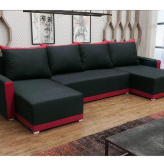 Rohová sedačka BRAGA U, černá látka/červená látka