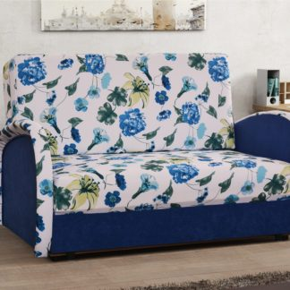 Pohovka KAJA II - 3, látka potisk květy/modrá látka