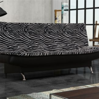 Pohovka ZENIT 1, látka se vzorem zebra/černá ekokůže