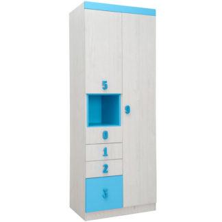 NUMERO SKŘÍŇ O2V4F, dub bílý / modrá