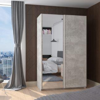 Skříň TREND 130, beton světlý + zrcadlo