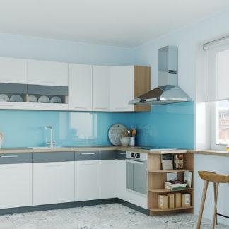 Rohová kuchyně MODENA 250x170, bílý lesk/grafit mat